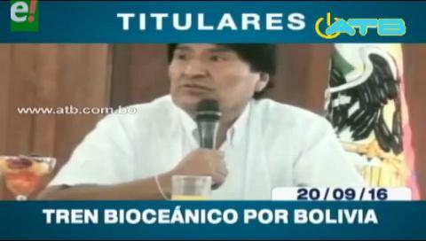Titulares de TV: Evo Morales sostiene que el tren Bioceánico pasará por Bolivia