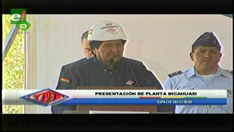 Incahuasi producirá 10 MMmcd de gas en 2018, anuncia presidente Morales