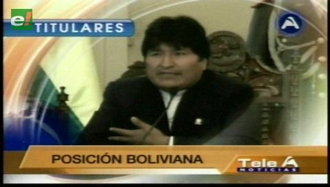 Titulares de TV: Morales dice que buscará una declaración pública del secretario de la ONU sobre el tema marítimo