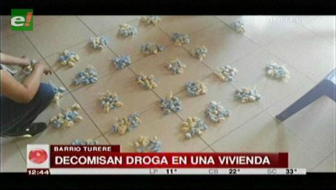 Santa Cruz: Felcn incauta cocaína y detiene a dos implicados en microtráfico en el barrio Turere
