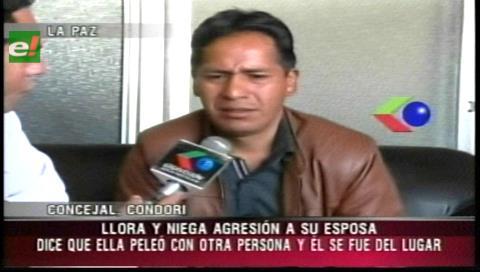 Concejal por el MAS Mario Condori rompe en llanto y niega haber agredido a su esposa