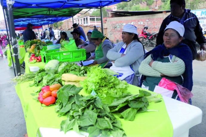 FERIA. Participaron productores de barrios alejados del centro, Río Chico e incluso Tarabuco.