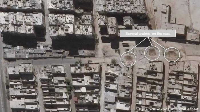 Imagen satelital de ataques aéreos en Siria.