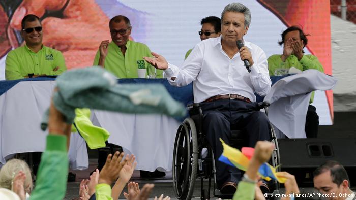 Ekuador Wahlen Lenin Moreno, Präsidentschaftskandidat (picture-alliance/AP Photo/D. Ochoa)
