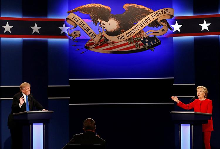 Los candidatos presidenciales de EE.UU. participan en el primer debate realizado en la Universidad de Hofstra, Hempstead. 26 de septiembre de 2016.