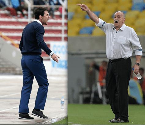 Beñat San José, técnico de Bolívar y Xabier Azkargorta, DT de Sport Boys.