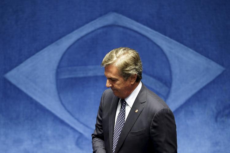 El sendaro y expresidente de Brasil, Fernando Collor de Mello durante una sesión del Senado en Brasilia. 14 de julio de 2015.