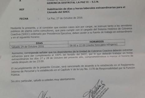 Impuestos, Bolivia, trabajadores