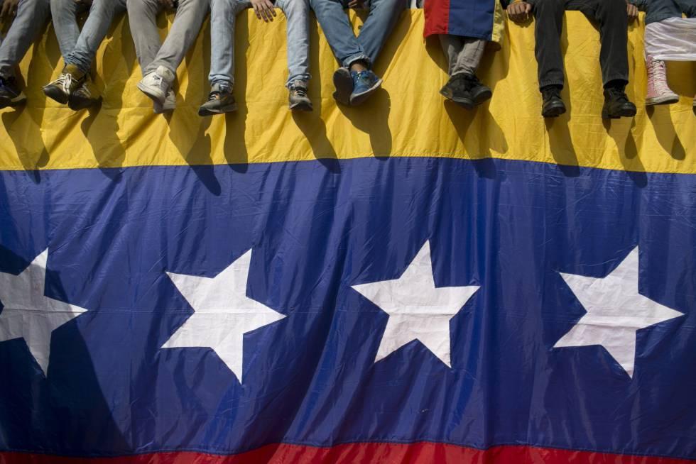 Una bandera venezolana, durante una protesta contra Maduro el día 26.