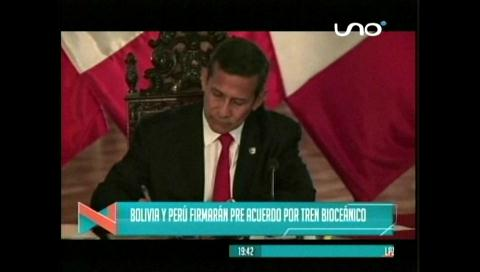 Titulares de TV: Bolivia y Perú firmarán pre acuerdo por tren bioceánico