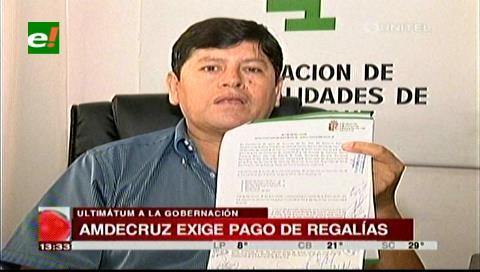 Amdecruz da 15 días para el pago de regalías a municipios, Gobernación rechaza presión