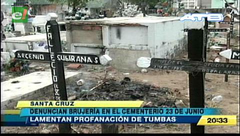 Denuncian profanación de tumbas en un cementerio de Santa Cruz