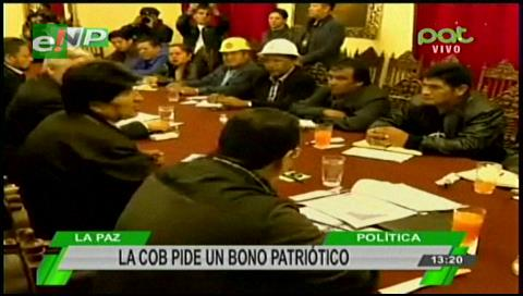 """COB pide al Gobierno un """"bono patriótico"""""""