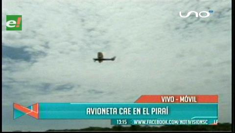 Santa Cruz: Avioneta de instrucción aterrizó de emergencia a orillas del río Piraí