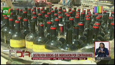 Aduana destruye 500 mil litros de bebidas alcohólicas de contrabando
