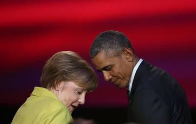 Barack Obama y la canciller alemana, Angela Merkel. / AFP