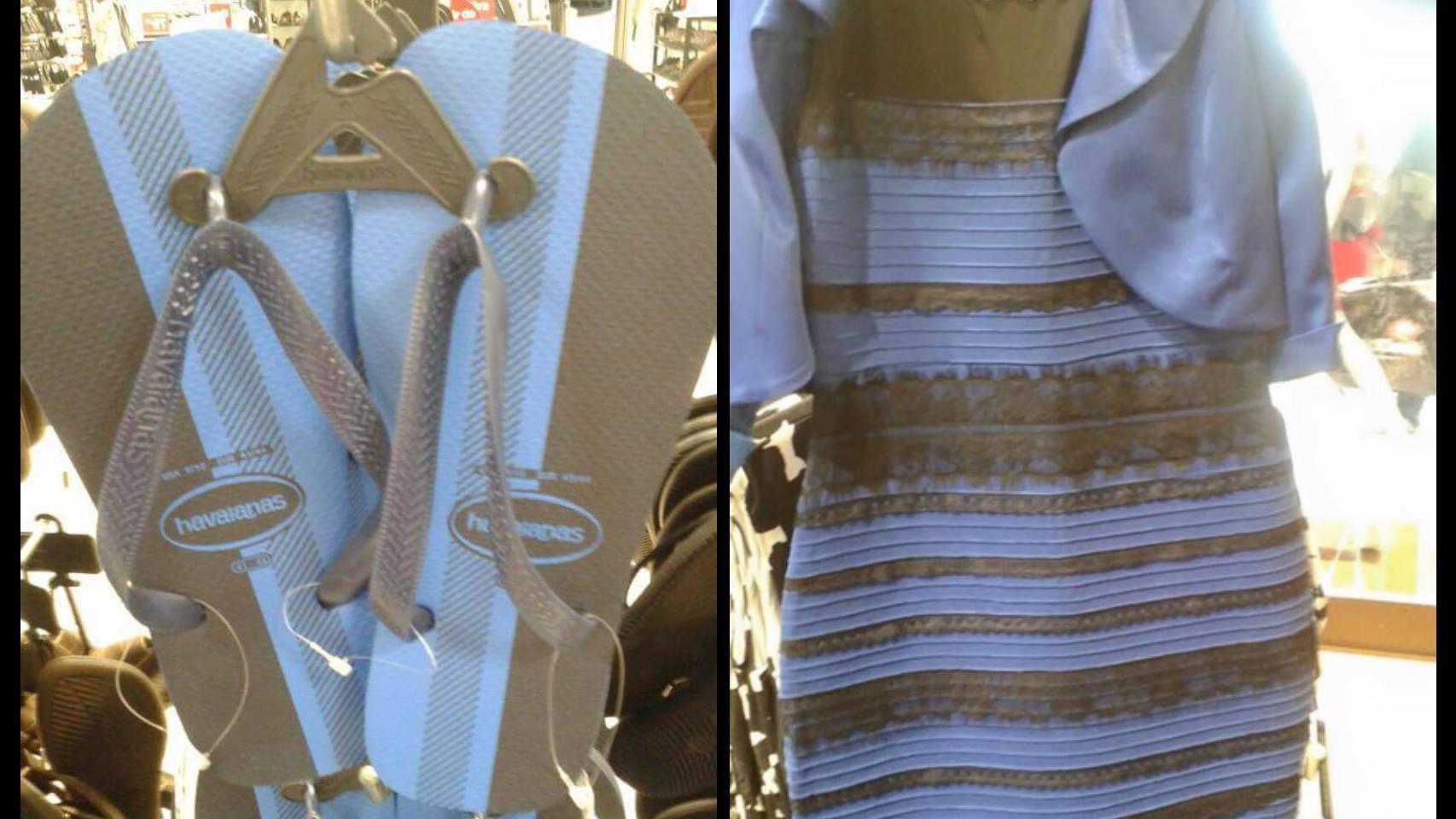 Las chanclas y el vestido que cada uno ve de un color distinto.