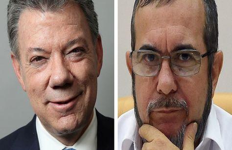 El presidente Juan Manuel Santos y el líder de las FARC, Rodrigo Londoño. Fotocomposición: La Razón Digital