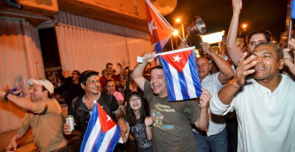 Festejo en Miami tras la muerte de Fidel