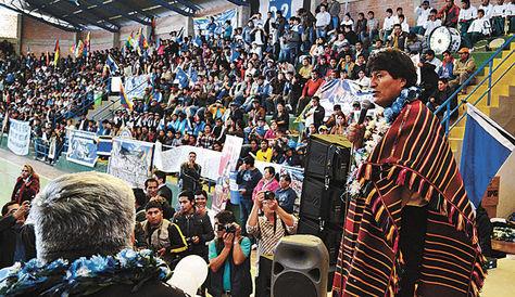 El presidente Evo Morales en un anterior ampliado del MAS en Cochabamba.