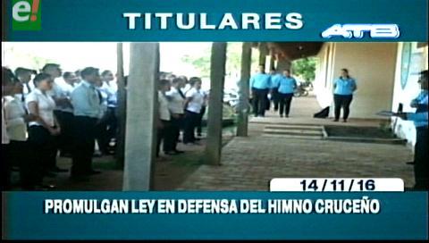 Titulares de TV: Alcaldía promulga ley en defensa del himno cruceño