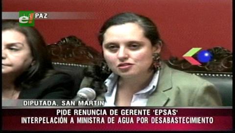 Diputada San Martín pide interpelar a la ministra Moreira por el racionamiento de agua en La Paz