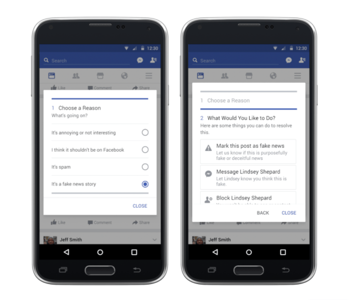 Captura de pantalla / Muestra de la nueva herramienta de Facebook