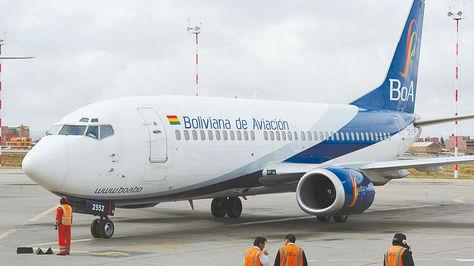 Una de las aeronaves de la estatal BoA, en el aeropuerto de la ciudad de El Alto.