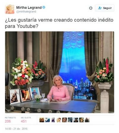 El tuit de Mirtha preguntando a sus seguidores si la quieren ver en Youtube.