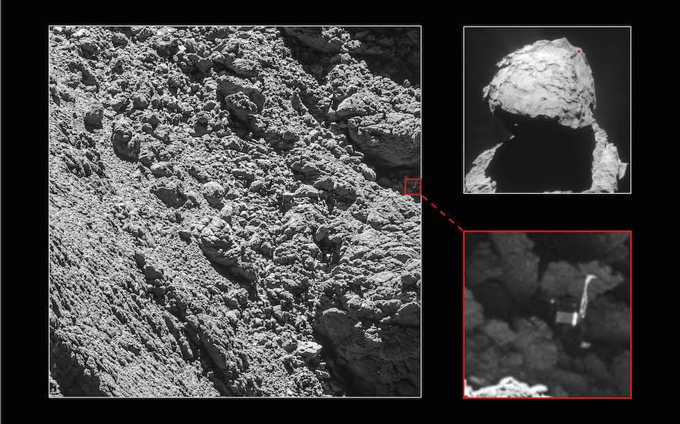 El lander Philae visible por primera vez sobre la superficie de la cometa a 67P en una foto tomada desde Rosetta el 2 de septiembre (ESA)