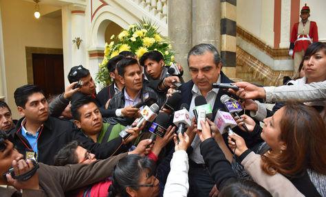 Hugo Siles esta mañana en Palacio de Gobierno