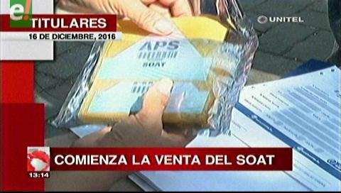 Titulares de TV: Comenzó la venta del Soat 2017