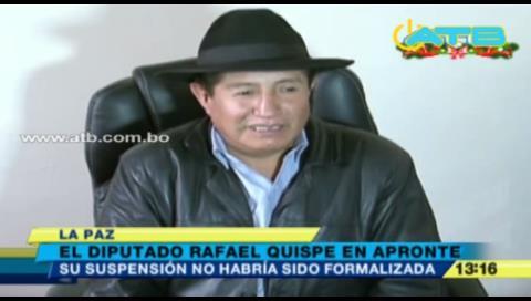 Rafael Quispe amenaza con ingresar a huelga de hambre