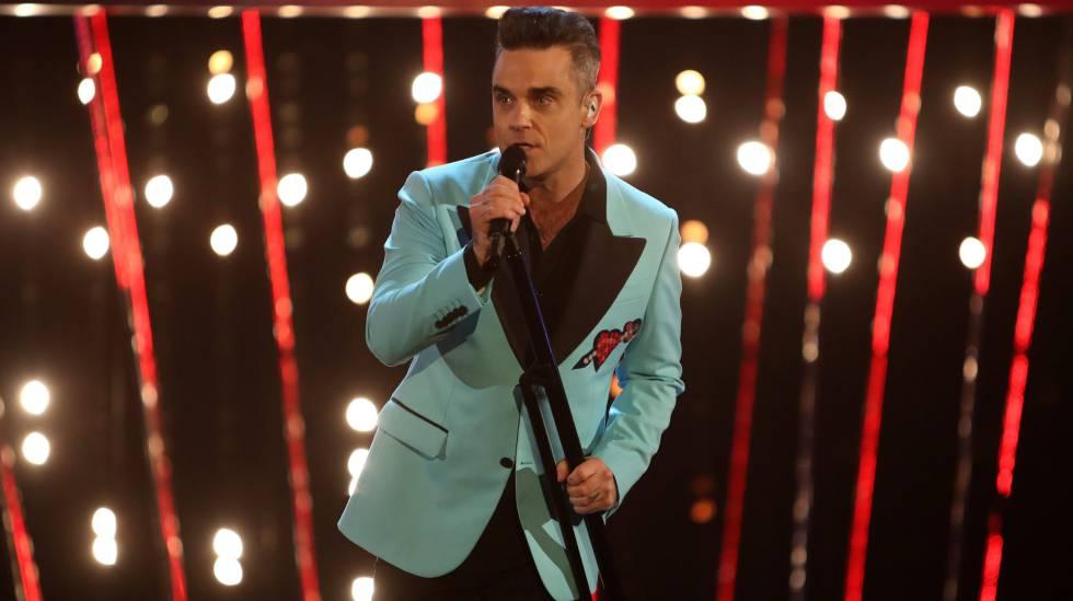 Robbie Williams, durante el concierto de Año Nuevo, en Londres.