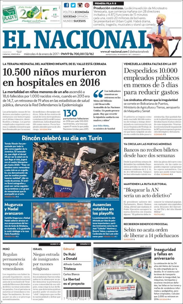 Portadas de periódicos de Venezuela del miércoles 4 de enero de 2017 ...
