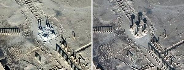 El Tetrápilo dañado y antes de ser destruido por ISIS (AFP)