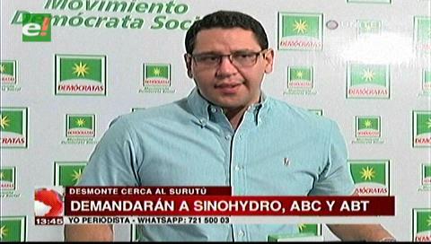 Diputado Monasterio asume defensa por tala de árboles en el Surutú
