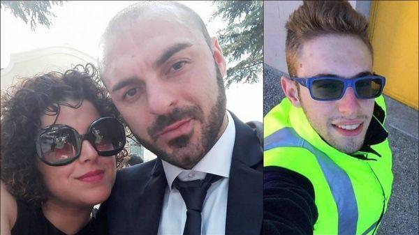 Fabio Di Lello y su esposa Roberta Smargiassi. A la derecha, Italo D'Elisa, quien había atropellado a la mujer y fue asesinado este miércoles por Di Lello