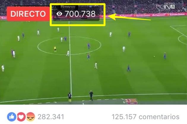 Una captura de pantalla de la emisión del Barcelona-Real Madrid del pasado mes de diciembre, con más de 700.000 espectadores conectados en ese momento.