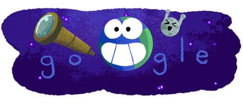 El Doodle de Google por el hallazgo de un sistema estelar con 7 planetas parecidos a la Tierra.