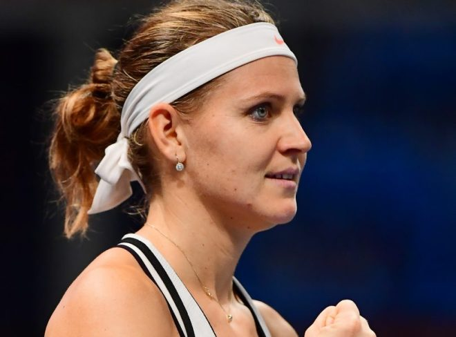 Lucie Safarova of the Czech Republic reacts during her match against Aliaksandra Sasnovich (not pictured) of Belarus during the WTA Hungarian Open Ladies tennis tournament in Budapest, on 24 February,  2017.   / AFP PHOTO / ATTILA KISBENEDEK