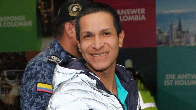 Sara Galiano al llegar a Colombia