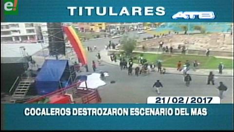 Video titulares de noticias de TV – Bolivia, mediodía del martes 21 de febrero de 2017