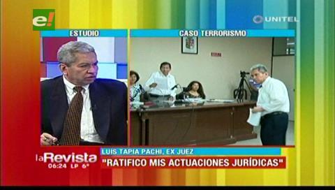 """Luis Tapia Pachi y el caso terrorismo: «Es absurdo que me propongan como testigo si soy juez"""""""
