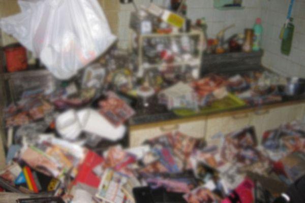 Todo el departamento estaba cubierto de recortes y fotografías de revistas pornográficas y no se apreciaba ni un solo espacio limpio