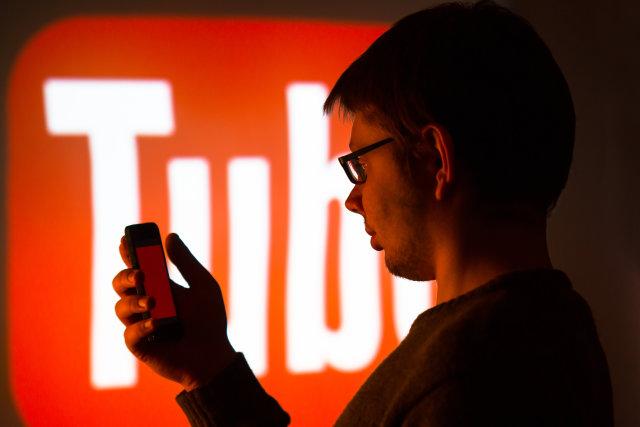 man using youtube application...