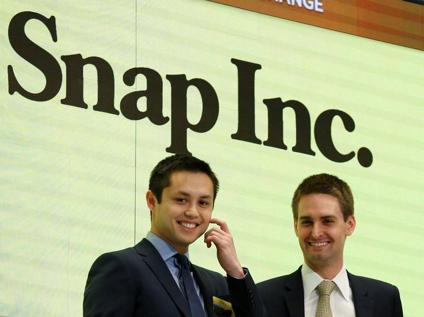Bobby Murphy y Evan Spiegel en la Bolsa de Nueva York.