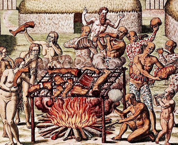 Justificado como parte de rituales de purificación o vinculados a conquistas bélicas, el canibalismo era practicado por tribus de América desde la era precolombina. Representación de Theodore de Bry de 1592