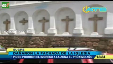 Dañaron fachada de la Basílica menor de San Francisco en Sucre