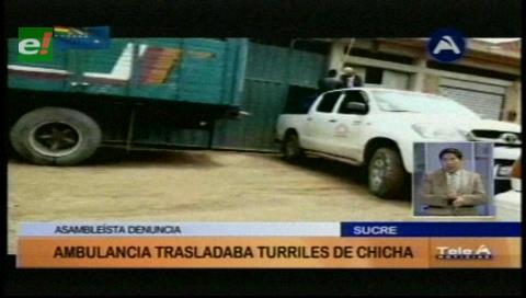 Sucre: Escándalo por traslado de chicha en una ambulancia